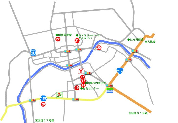内牧地区AED位置図
