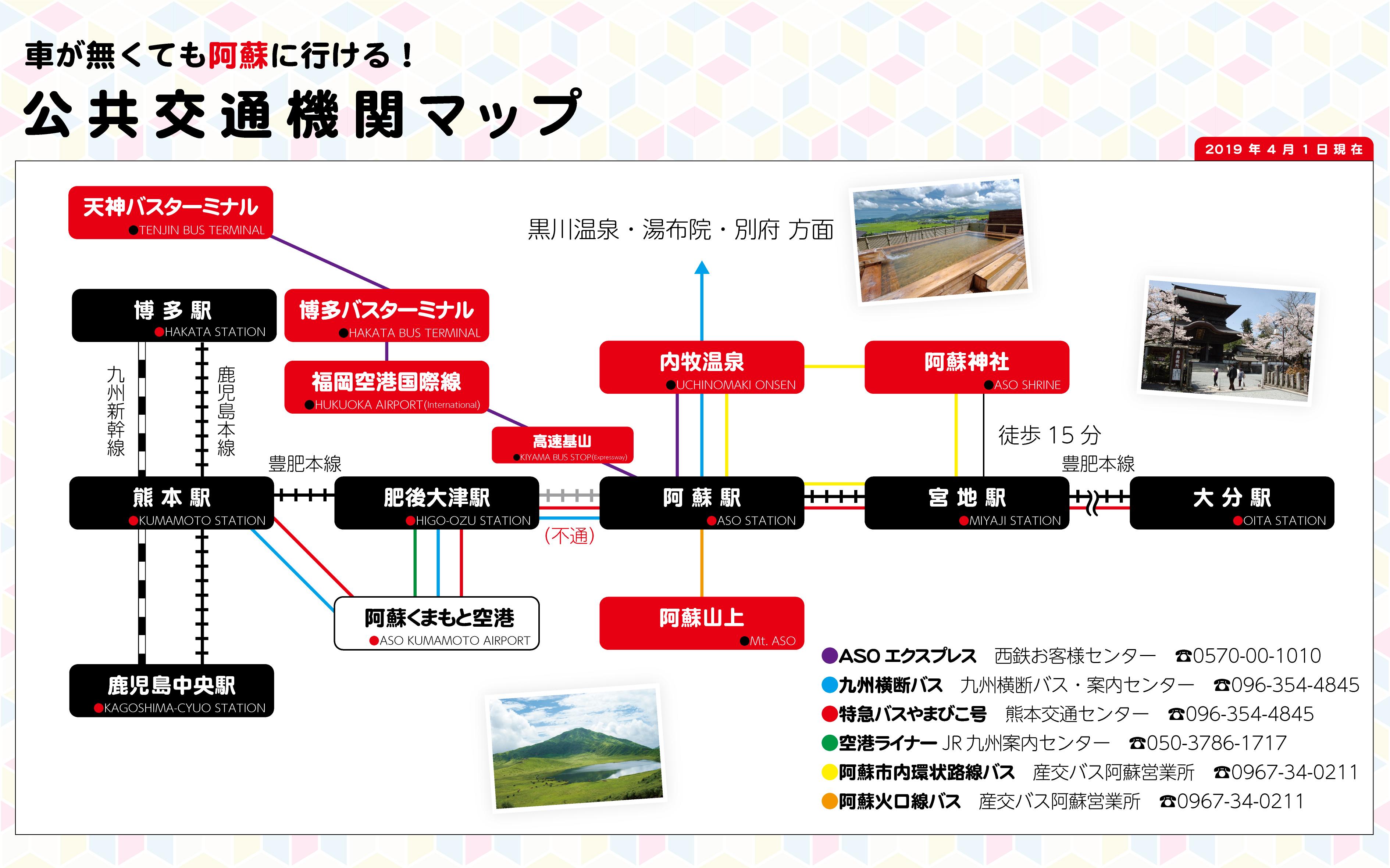 車が無くても阿蘇に行ける。公共交通機関マップ