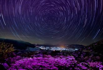 仙酔峡の星空とミヤマキリシマ