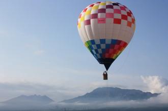 熱気球と阿蘇五岳