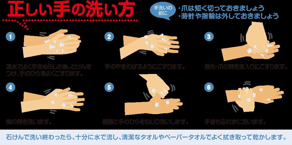 正しい手の洗い方イラスト
